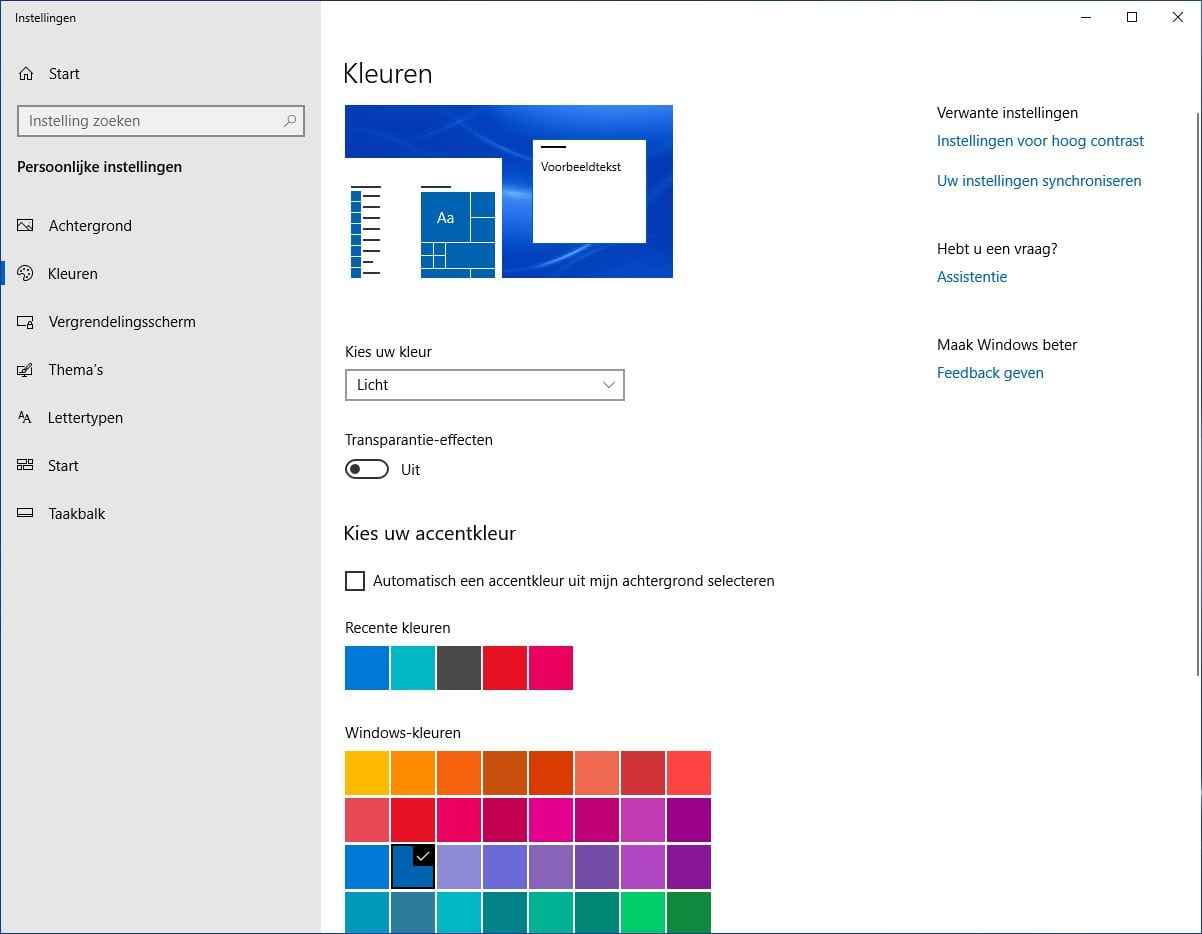 Licht thema instellen Windows 10