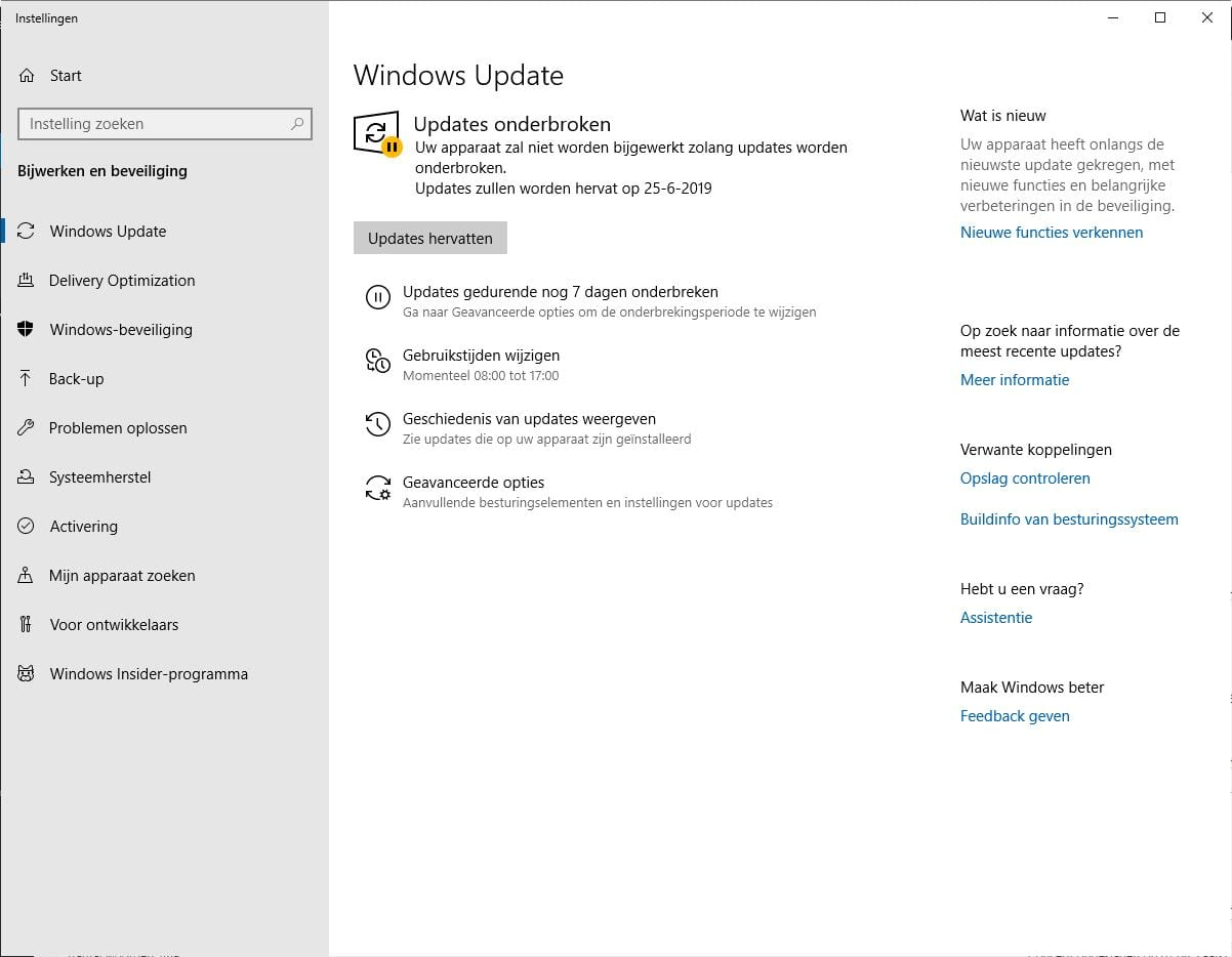 Updates onderbreken in Windows 10