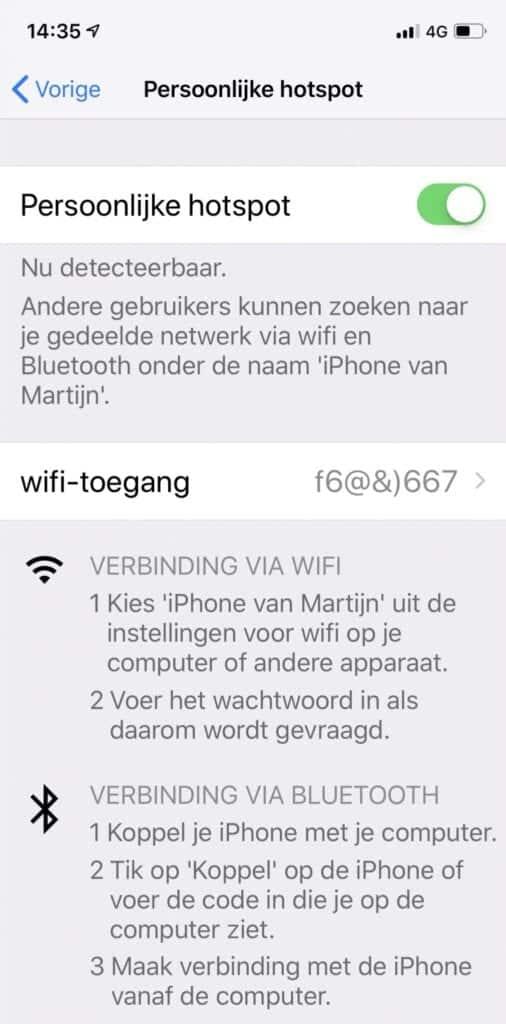 Internet delen iPhone