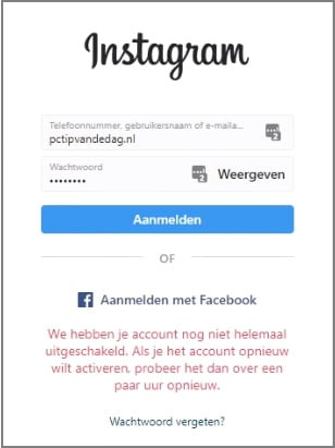 Instagram account weer activeren